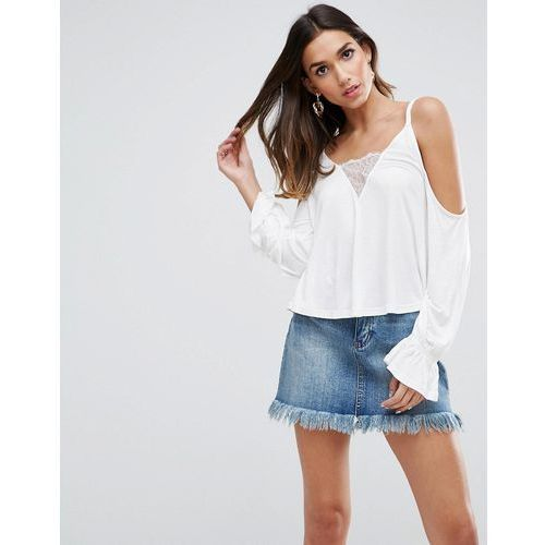 ASOS Top with Cold Shoulder with Lace Insert & Blouson Sleeve - White, kolor biały