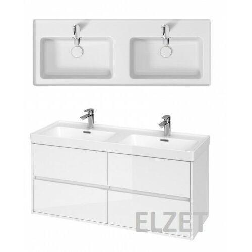 CERSANIT szafka Crea biały połysk + umywalka Crea 120 podwójna S931-001+K673-006, kolor biały