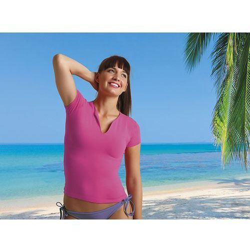 Koszulka damska T-shirt damski dekolt w łezkę 90% bawełna Cancun Valento L turkusowy, kolor niebieski