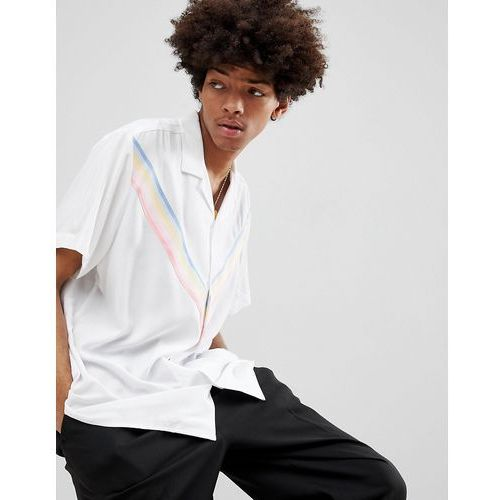 Asos design oversized viscose shirt with rainbow chevron taping in white - white