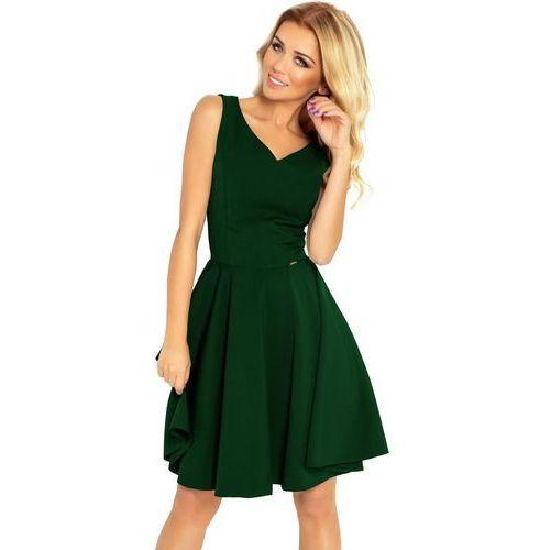 114-10 Rozkloszowana sukienka - dekolt w kształcie serca - ZIELEŃ BUTELKOWA L, kolor zielony