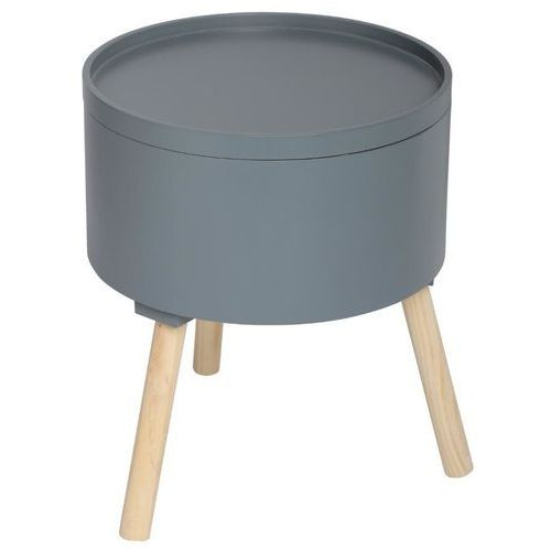 Nowoczesny stolik ze schowkiem, OSHI, 2w1, okrągły, 38 x 38 x 45 cm, szary