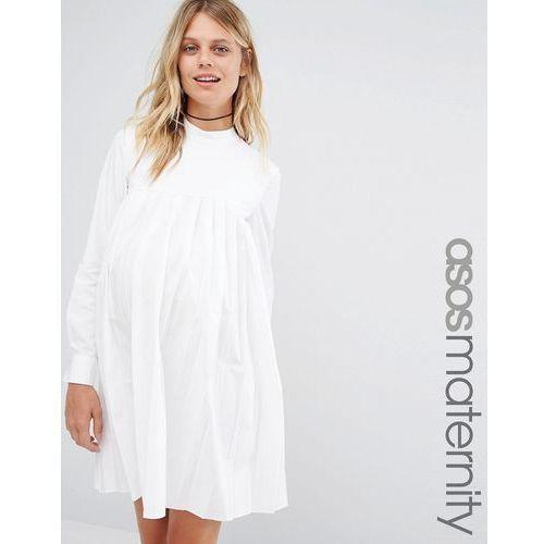 Long Sleeve Cotton Pleated Dress - White marki ASOS Maternity