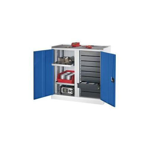 Quipo Szafy na narzędzia i szafy dostawne,9 szuflad, 2 półki, 1 środkowa ścianka działowa