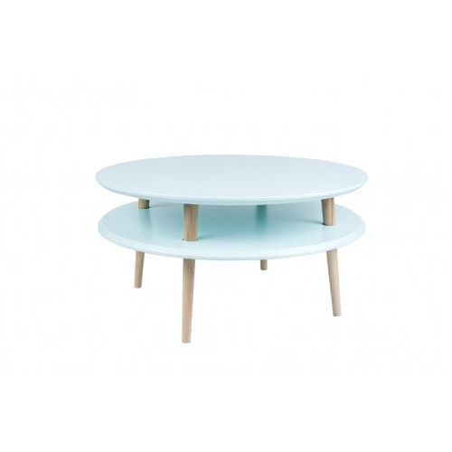 Mały stolik kawowy drewniany ufo niski - kolor jasny turkus/ kolor nóg naturalny buk marki Ragaba