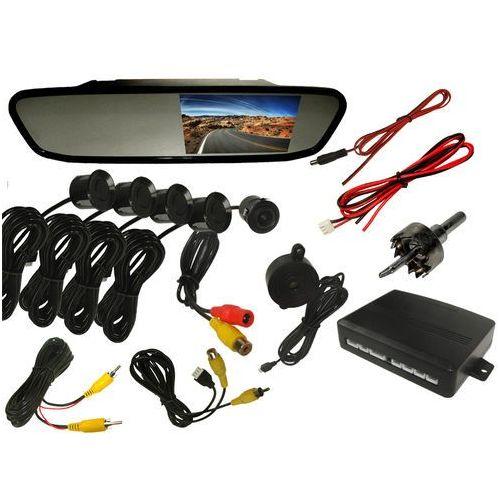 """Zestaw cofania do samochodu - kamera cofania + monitor LCD 4,3"""" w lusterku + czujniki cofania, parkowania, towar z kategorii: Kamery cofania"""