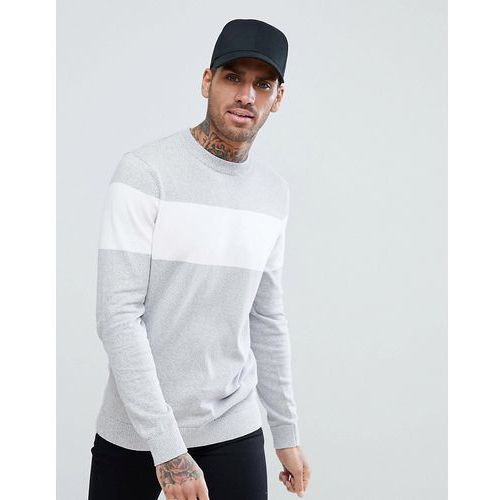 New look colour block jumper in white and grey - grey