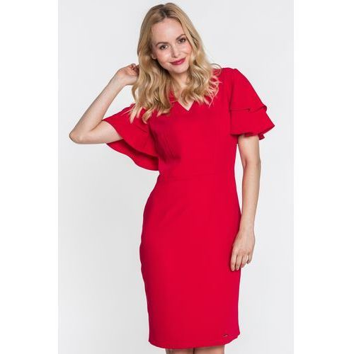 1ed3da3fdb Czerwona sukienka z falbanami na rękawac.