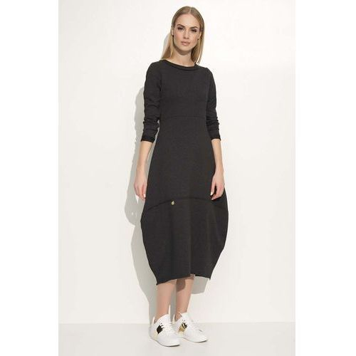 Makadamia Grafitowa sukienka asymetryczna bombka midi z długim rękawem