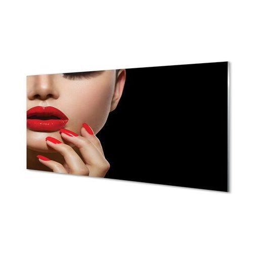 Obrazy na szkle Kobieta czerwone usta i paznokcie