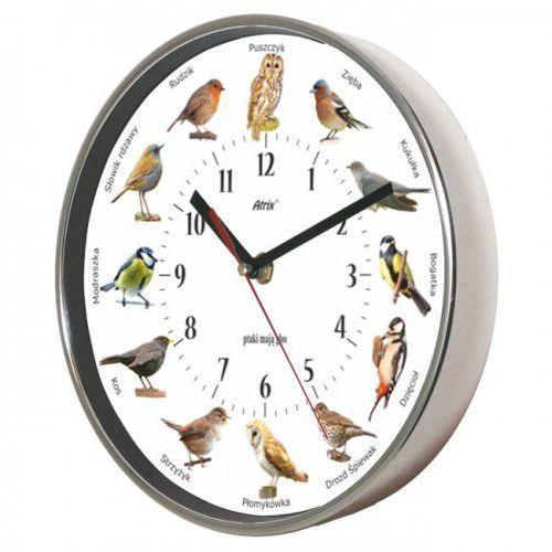 Zegar chromowany z głosami ptaków #2 marki Atrix