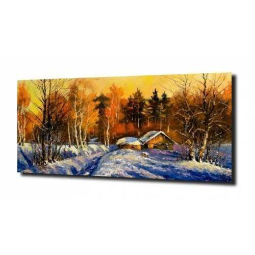 Zahartowani.pl Obraz na szkle, panel szklany dom las zima 100x80