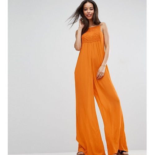lace panel cheesecloth wide leg jumpsuit - orange, Asos tall