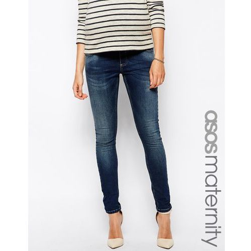 ridley skinny jean in mid wash with over the bump waistband - blue marki Asos maternity