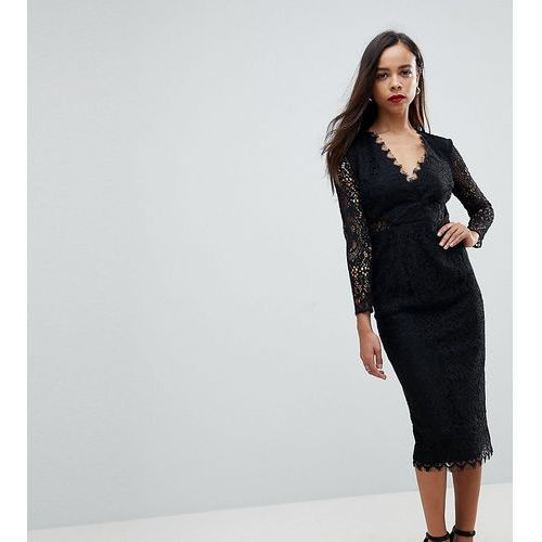 ASOS PETITE Long Sleeve Lace Midi Pencil Dress - Black, kolor czarny