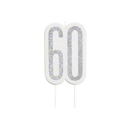 Brokatowa srebrna świeczka na 60-tke - 1 szt. marki Unique