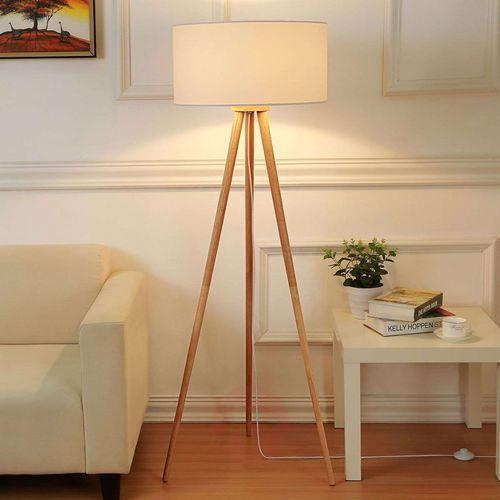 Lindby Materiałowa lampa stojąca charlia z trójnogiem