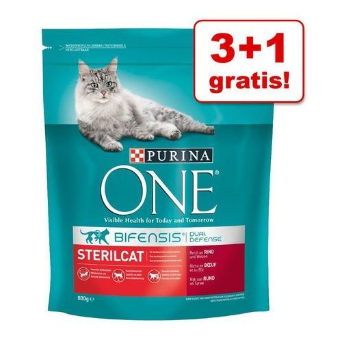 3 + 1 gratis! Purina ONE, 4 x 800 g - Senior 7+