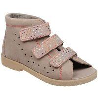 Sandałki profilaktyczne ortopedyczne buty 1042 beżowe bkr - beżowy marki Dawid