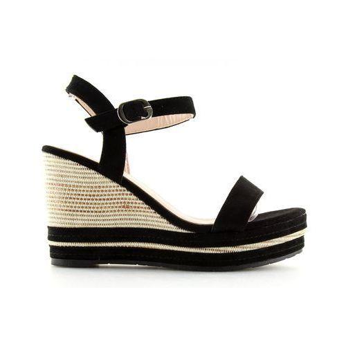 Sandałki na koturnie czarne 1505-2 black marki Buty obuwie damskie