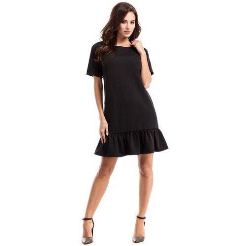 Czarna Sukienka Pudełkowa z Falbanką, w 4 rozmiarach