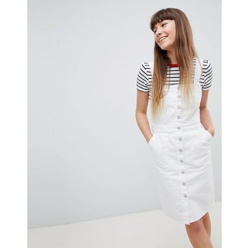 denim button through dress - white, New look