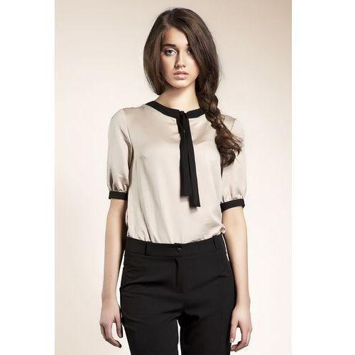 Subtelna bluzeczka z wstążką - beż - B21, kolor beżowy
