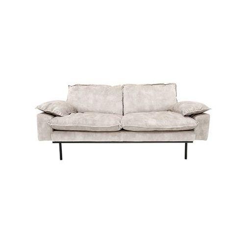 HK Living Sofa Retro 2-osobowa aksamitna w kolorze kremowo-białym MZM4670, MZM4670