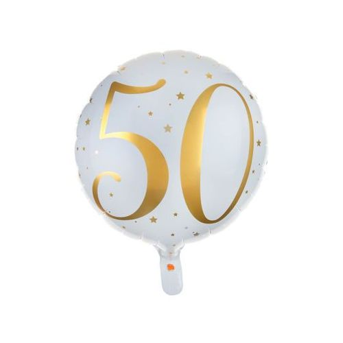 Santex Balon foliowy biały ze złotym nadrukiem - 50tka - 35 cm - 1 szt. (3660380045052)