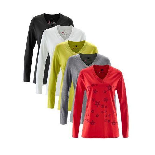Bonprix Długi shirt z dekoltem w serek (5 szt.), długi rękaw truskawkowy z nadrukiem + biały + szary melanż + czarny + pistacjowy