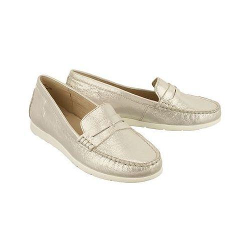 CAPRICE 24251-28 116 off white glitter, półbuty mokasyny damskie, kolor biały