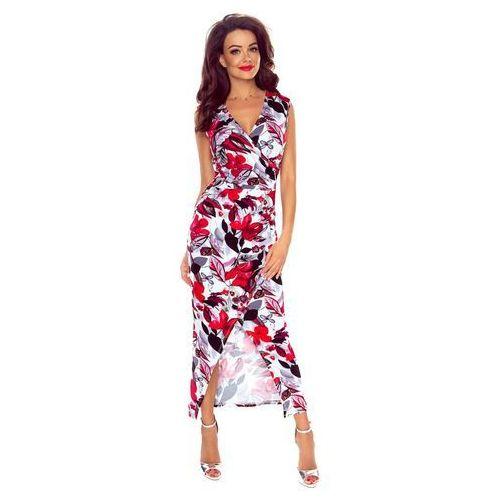 Długa Elegancka Sukienka Kopertowa w Czerwone Kwiaty, kolor czerwony