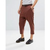 drop crotch tapered smart trousers in rust wool mix - tan, Asos