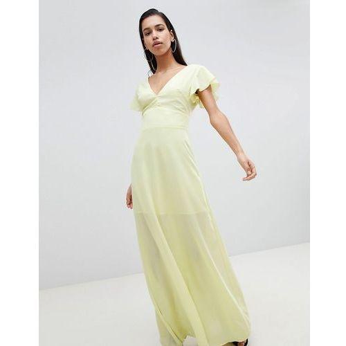 angel sleeve maxi dress - yellow marki Prettylittlething