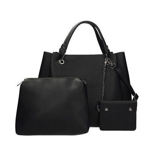 Zestaw 3w1 torebka damska, kosmetyczka i etui na klucze w kolorze czarnym GALLANTRY DQ8538