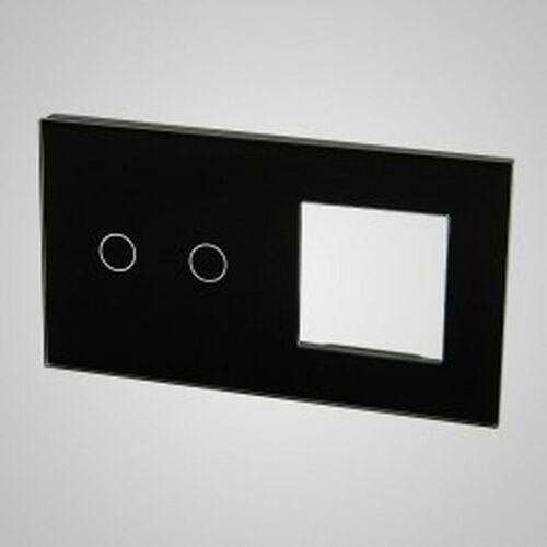 TouchMe Duży panel szklany, 1 x łącznik podwójny, 1 x ramka, czarny TM702728B (5902273848363)