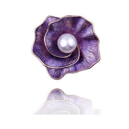 Broszka damska fioletowy kwiat z perłą