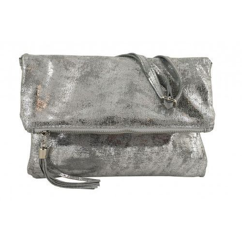 Barberini's Modne torebki listonoszki ze skóry metalizowanej - - szary jasny