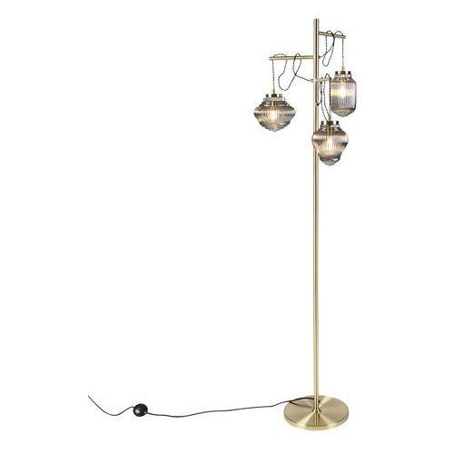 Mosiężna lampa podłogowa w stylu art deco z dymnym szkłem 3-punktowa - Bolsena