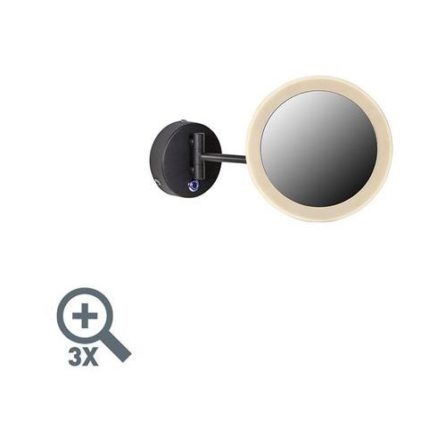 Qazqa Okrągłe lustro do makijażu w kolorze czarnym, w tym led ip44 - barba