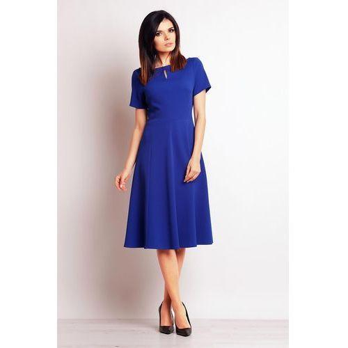 Niebieska wizytowa sukienka midi z krótkim rękawem, Infinite you, 36-42