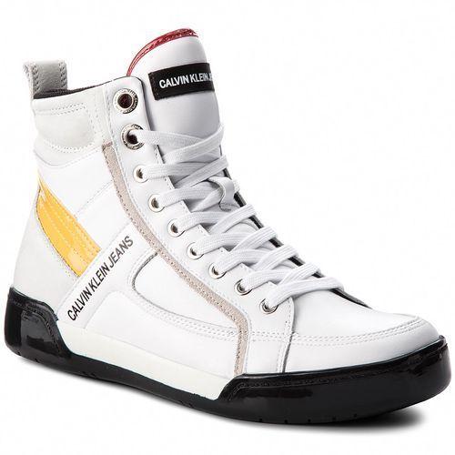 Sneakersy jeans - nicola s1774 white/white/sunflower marki Calvin klein