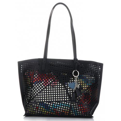 David jones Uniwersalne ażurowe torebki damskie z kosmetyczką czarna (kolory)