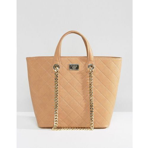 Marc b quilted tote bag with chain detail - tan