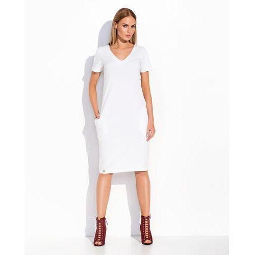 Makadamia Biała dzianinowa prosta sukienka midi z dekoltem