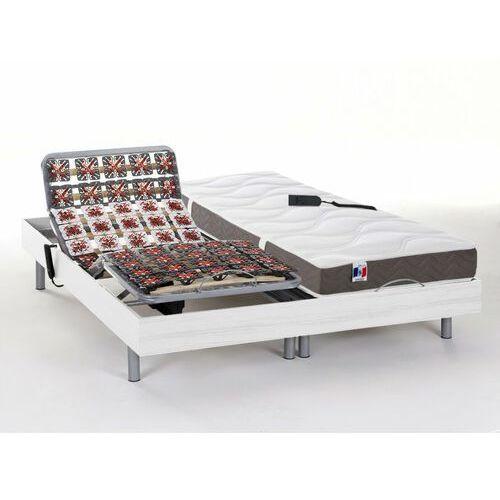 Zestaw relaksacyjny w całości z płytek 100% lateksu 5-strefowy JUPITER marki DREAMEA - Biały - 2x90x200cm - silniki OKIN