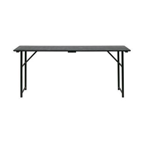Woood Duży stół z drewnianym blatem i z żelaznymi nogami czarny 375769-Z