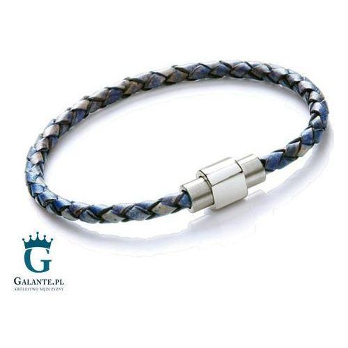 Cienka niebieska bransoletka skórzana na rękę T791, kolor niebieski