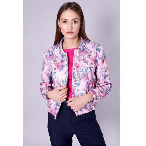 Bomberka w kwiaty - Click Fashion, kolor różowy