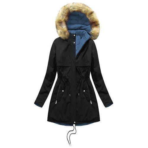 1c9787c09accb0 Kurtki damskie · Dwustronna kurtka z kapturem czarno-niebieska (w214big) -  niebieski   czarny,